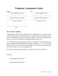 Sample Volunteer Acceptance Letter Template