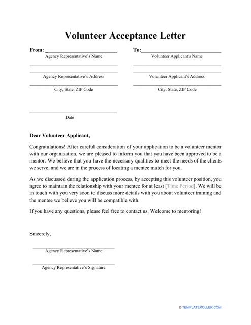 sample volunteer acceptance letter template download