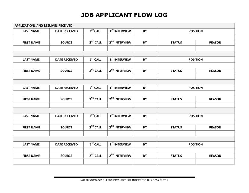 """Job Applicant Flow Log Template"" Download Pdf"