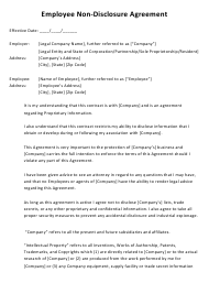 """Sample """"Employee Non-disclosure Agreement Template"""""""
