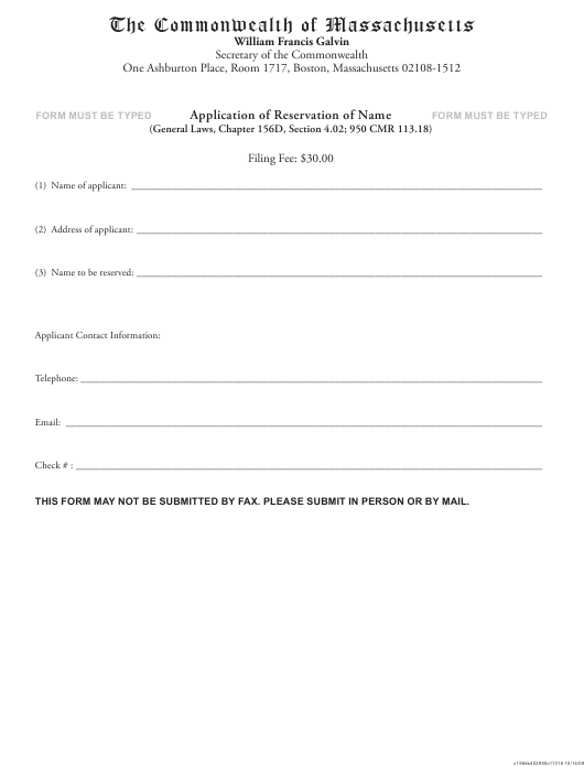 """""""Application of Reservation of Name"""" - Massachusetts Download Pdf"""