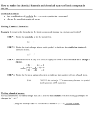 """""""Chemical Formula and Chemical Names of Ionic Compounds Writing Methodology and Worksheet"""""""