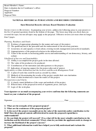 """State Historical Records Advisory Board Members Evaluation Form"""