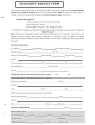 Transcript Request Form - Logos Christian College and Graduate Schools