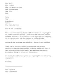 sample two weeks notice resignation letter template