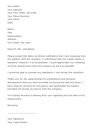 "Sample ""Two Weeks Notice Resignation Letter Template"""