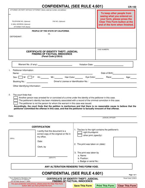 Form CR-150  Printable Pdf