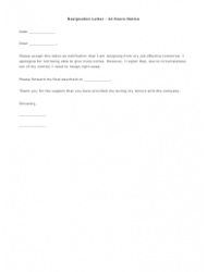 24 Hours Notice Resignation Letter Template
