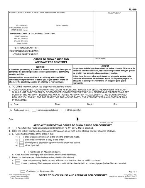 Form FL-410  Printable Pdf
