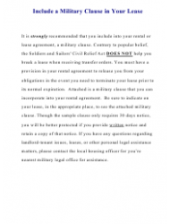Military Clause Addendum Form