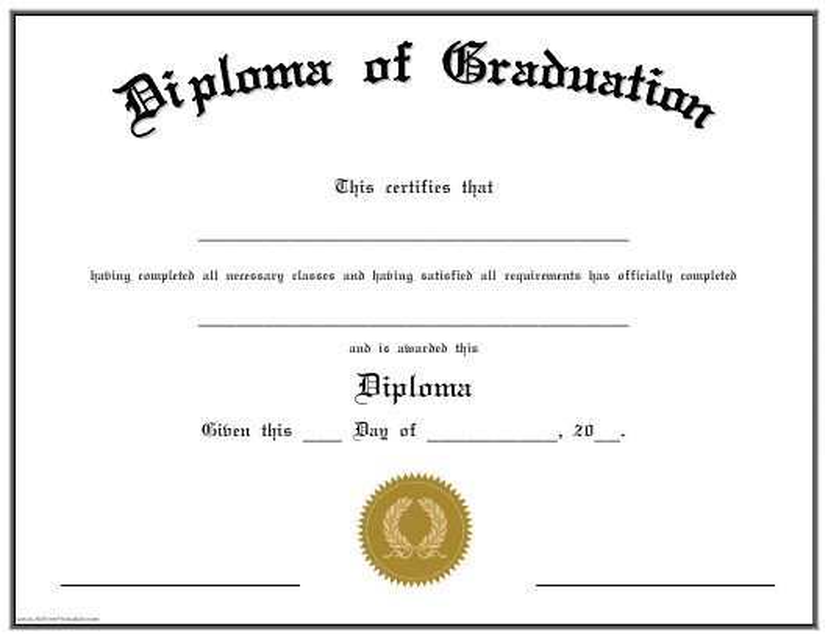 """Diploma of Graduation Certificate Template"" Download Pdf"