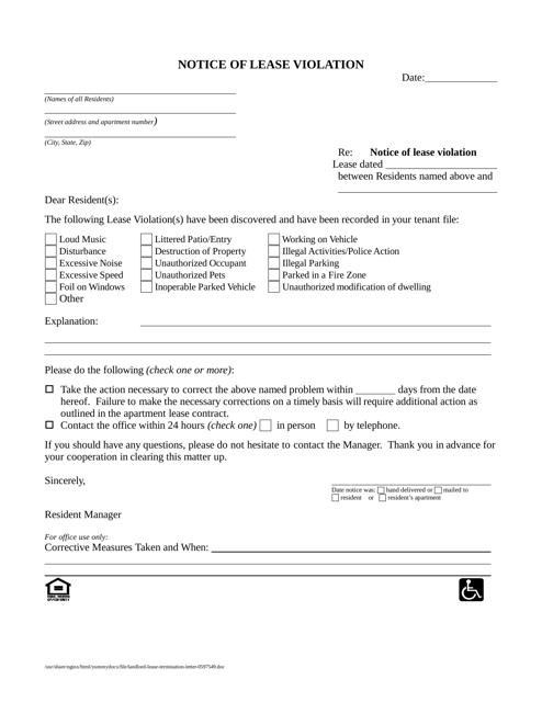 Notice of Lease Violation Form Download Printable PDF