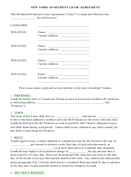 """""""Apartment Lease Agreement Template"""" - New York"""