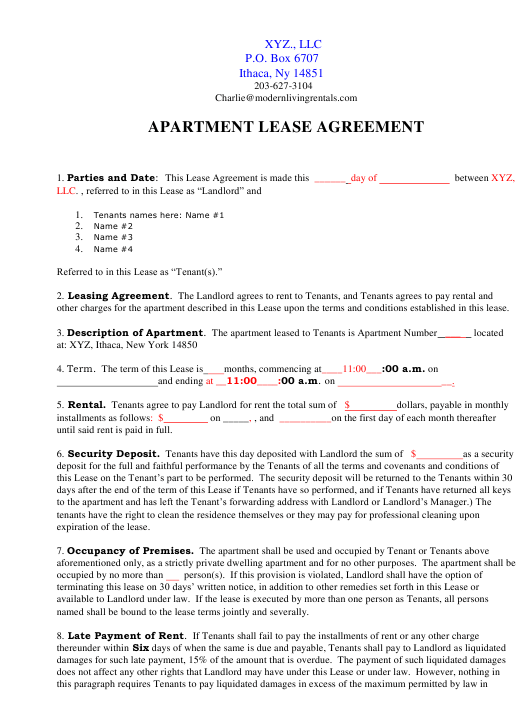 Apartment Lease Agreement Template New York Download