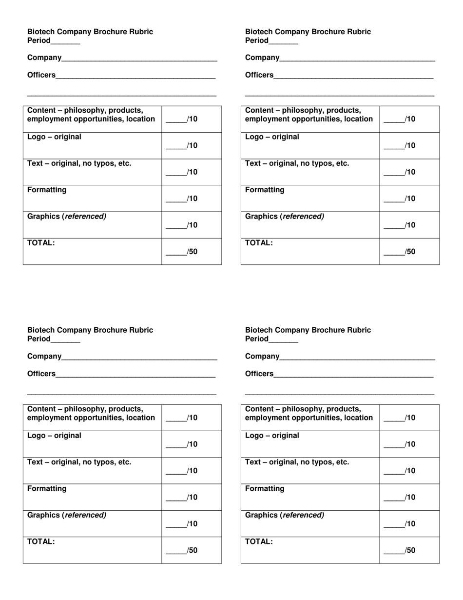 Biotech Company Brochure Rubric Template Download Printable PDF Within Brochure Rubric Template