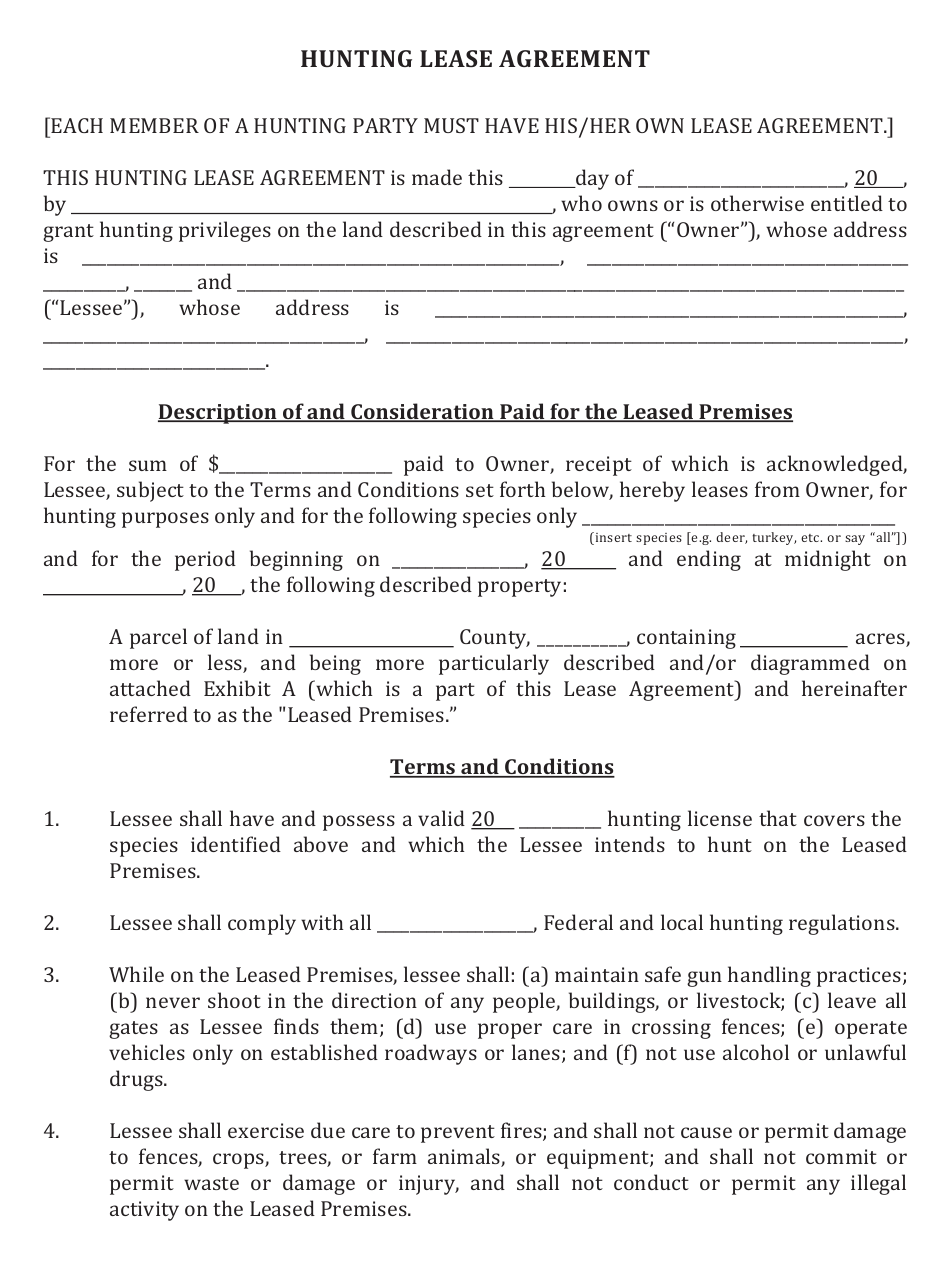 Hunting Lease Agreement Template Download Fillable Pdf Templateroller