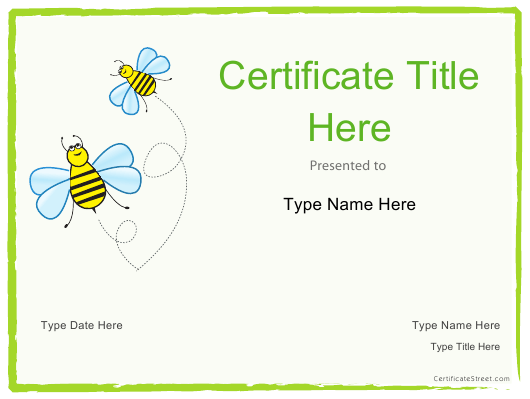 """""""Certificate Template - Bees"""" Download Pdf"""