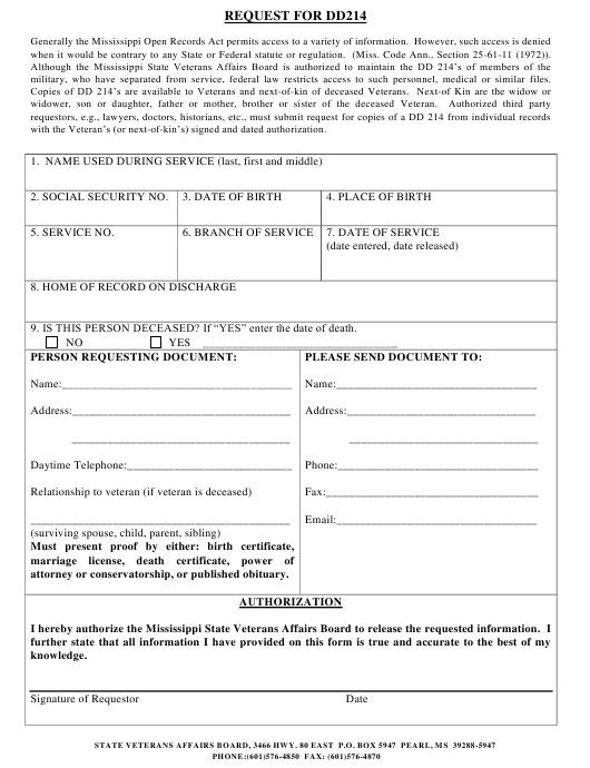 """Request Form for DD 214"" - Mississippi Download Pdf"