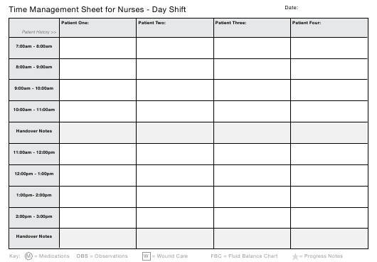 """""""Day, Evening and Night Time Management Sheet Templates for Nurses"""" Download Pdf"""
