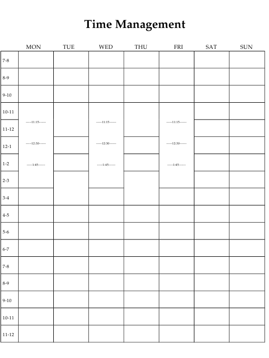 """""""Time Management Tracking Sheet Template"""" Download Pdf"""