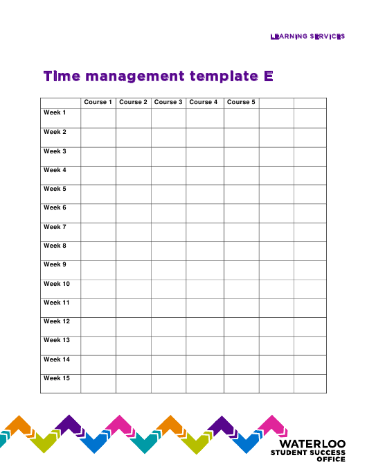 """Time Management Schedule Template - Waterloo Student Success Office"" Download Pdf"
