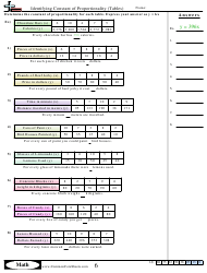 Identifying Constant Of Proportionality (tables) Worksheet With Answer Key