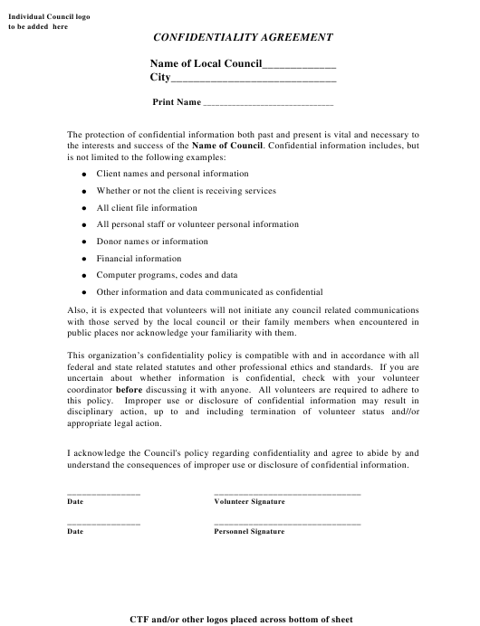 """""""Confidentiality Agreement Template"""" Download Pdf"""
