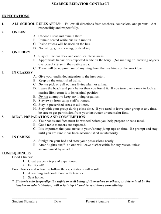 """Seabeck Behavior Contract Template"" Download Pdf"