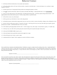 "Sample ""Behavior Contract Template"""