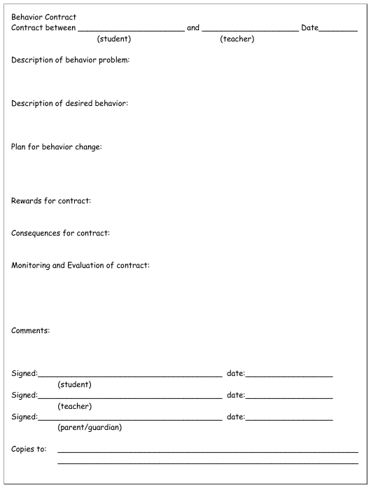 Behavior Contract Template Download Pdf