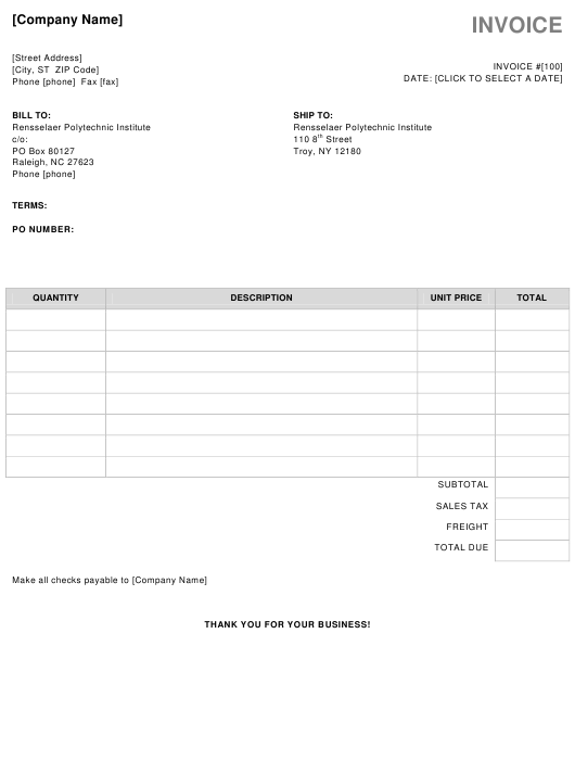 """""""Business Invoice Template"""" Download Pdf"""