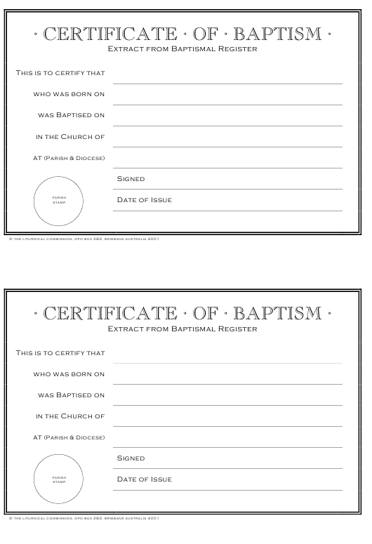 """""""Certificate of Baptism Template"""" Download Pdf"""
