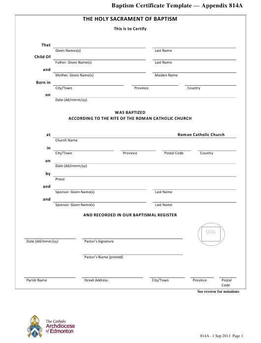 """""""Baptism Certificate Template - the Catholic Archdiocese of Edmonton"""" Download Pdf"""