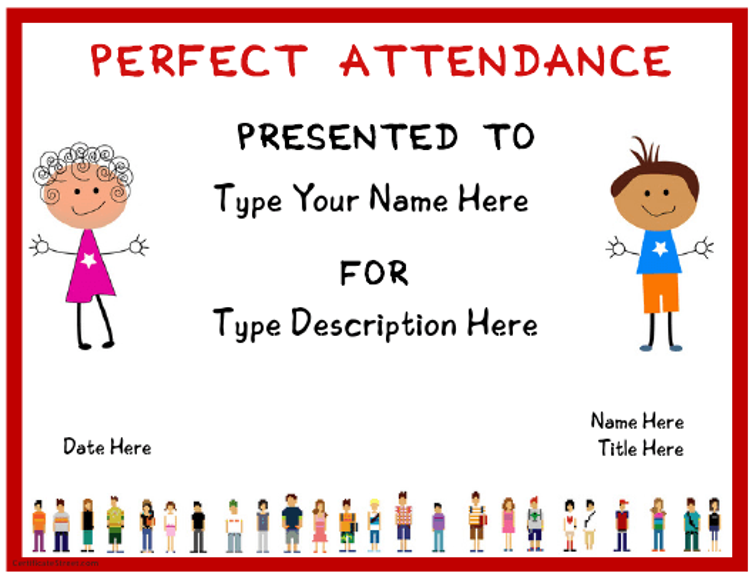 """Pre-school Certificate of Attendance Template"" Download Pdf"