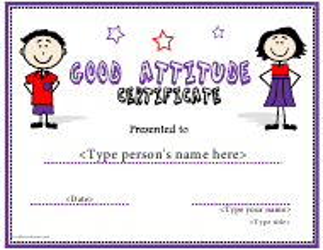 Good Attitude Certificate Template