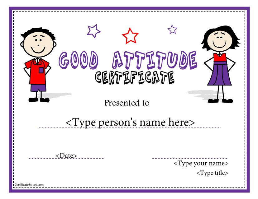 """Good Attitude Certificate Template"" Download Pdf"