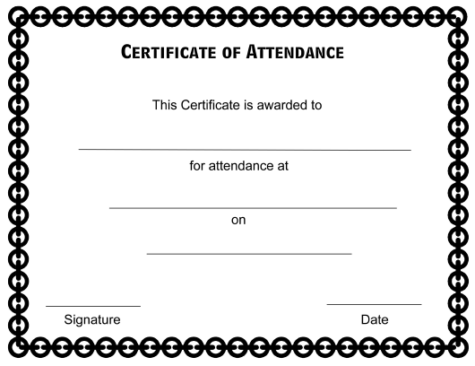 """Certificate of Attendance Template"" Download Pdf"