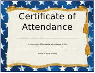 """Summer Bible School Certificate of Attendance Template"""