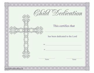 Child Dedication Certificate Template