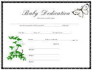 Baby Dedication Certificate Template - Butterfly