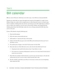 """""""Bill Calendar Template"""""""