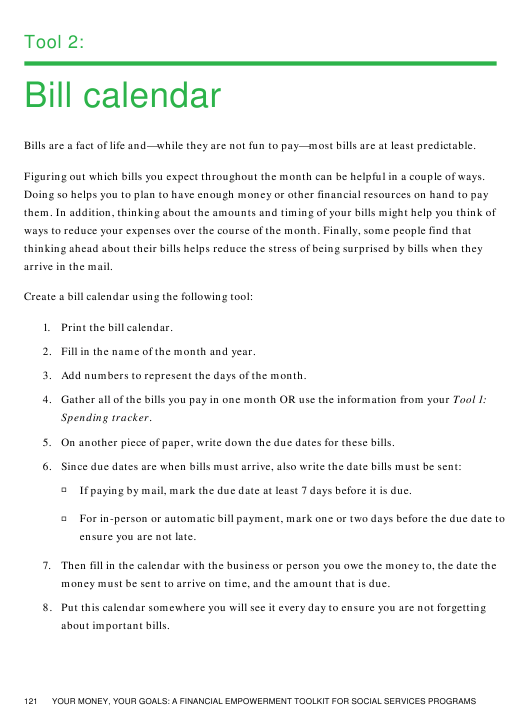 """Bill Calendar Template"" Download Pdf"