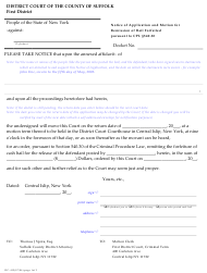 """Form DC-415 """"Notice of Application and Motion for Remission of Bail Forfeited Pursuant to Cpl 540.30"""" - Suffolk County, New York"""