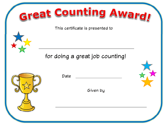 Great Counting Award Certificate Template Download ...