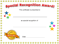 """""""Special Recognition Award Certificate Template"""""""