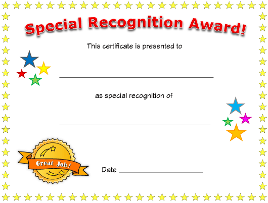 """Special Recognition Award Certificate Template"" Download Pdf"