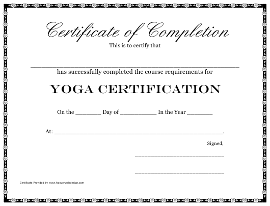 """Certificate of Completion Template - Yoga"" Download Pdf"