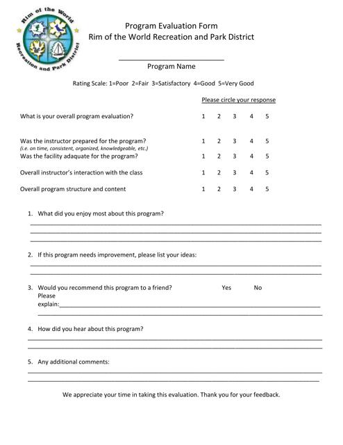 """Program Evaluation Form - Rim of the World Recreation and Park District"" Download Pdf"