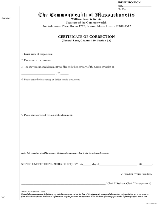 """""""Certificate of Correction"""" - Massachusetts Download Pdf"""