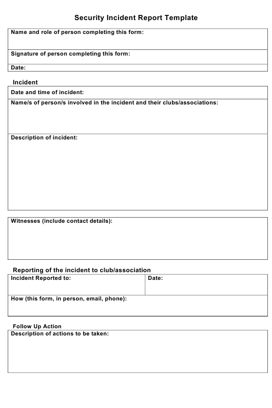 security incident report template download fillable pdf